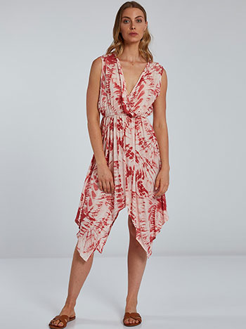 Tie dye midi φόρεμα, κρουαζέ, ελαστική μέση, εκρου κοκκινο