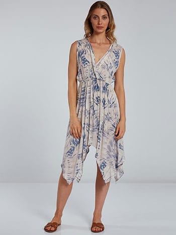 Tie dye midi φόρεμα, κρουαζέ, ελαστική μέση, μπλε ραφ εκρου
