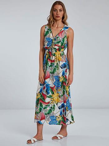 Φόρεμα σε τροπικό μοτίβο, χωρίς κούμπωμα, ελαστική μέση, διακοσμητικό κορδόνι, μιχ 2