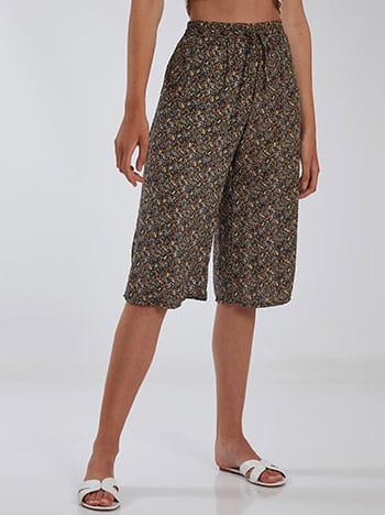 Κάπρι εμπριμέ παντελόνα, ελαστική μέση, με τσέπες, διακοσμητικό κορδόνι, μιχ 1