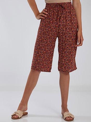 Κάπρι εμπριμέ παντελόνα, ελαστική μέση, με τσέπες, διακοσμητικό κορδόνι, μιχ 2
