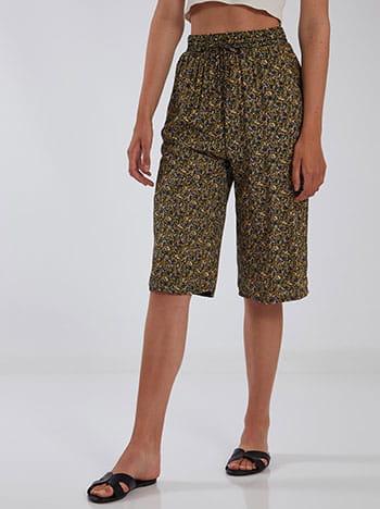 Κάπρι εμπριμέ παντελόνα, ελαστική μέση, με τσέπες, διακοσμητικό κορδόνι, μιχ 3