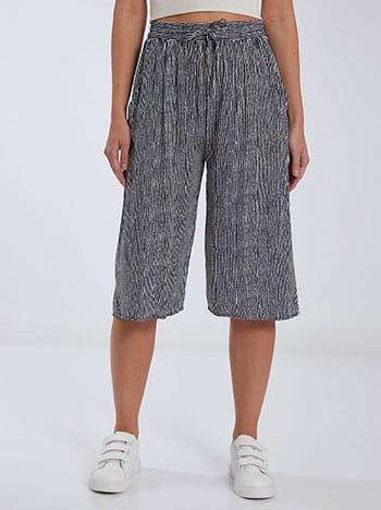Κάπρι ριγέ παντελόνα, ελαστική μέση, με τσέπες, διακοσμητικό κορδόνι, μπλε σκουρο λευκο