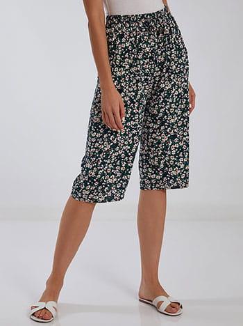 Κάπρι παντελόνα με βαμβάκι, ελαστική μέση, με τσέπες, διακοσμητικό κορδόνι, μιχ 1