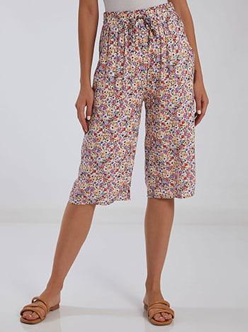 Κάπρι παντελόνα με βαμβάκι, ελαστική μέση, με τσέπες, διακοσμητικό κορδόνι, μιχ 2