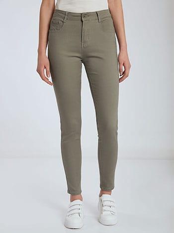 Παντελόνι με βαμβάκι, πέντε τσέπες, κλείσιμο με φερμουάρ και κουμπί, θηλιές στη μέση, ύφασμα με ελαστικότητα, xaki anoixto