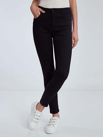 Παντελόνι με βαμβάκι, πέντε τσέπες, κλείσιμο με φερμουάρ και κουμπί, θηλιές στη μέση, ύφασμα με ελαστικότητα, μαυρο