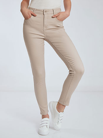 Παντελόνι με βαμβάκι, πέντε τσέπες, κλείσιμο με φερμουάρ και κουμπί, θηλιές στη μέση, ύφασμα με ελαστικότητα, μπεζ