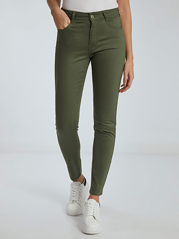 Ψηλόμεσο παντελόνι, πέντε τσέπες, κλείσιμο με φερμουάρ και κουμπί, θηλιές στη μέση, ύφασμα με ελαστικότητα, πρασινο