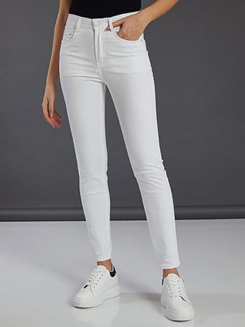 Ψηλόμεσο παντελόνι, πέντε τσέπες, κλείσιμο με φερμουάρ και κουμπί, θηλιές στη μέση, ύφασμα με ελαστικότητα, λευκο