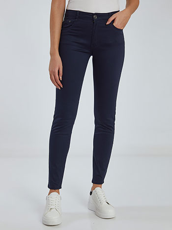 Ψηλόμεσο παντελόνι, πέντε τσέπες, κλείσιμο με φερμουάρ και κουμπί, θηλιές στη μέση, ύφασμα με ελαστικότητα, σκουρο μπλε
