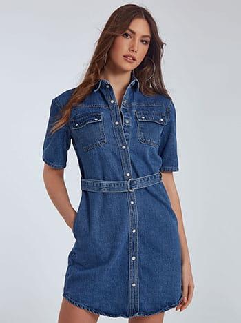 Τζιν φόρεμα, αποσπώμενη ζώνη, με τσέπες, με γιακά, κλείσιμο με κουμπιά, ιντιγκο