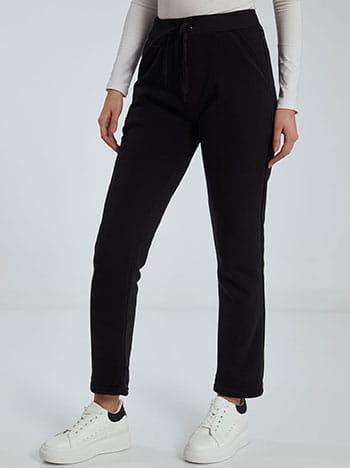 Παντελόνι φόρμας με τσέπες, ελαστική μέση, εσωτερικό κορδόνι, fleece επένδυση, μαυρο
