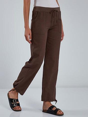 Παντελόνι με τσέπες, ελαστική μέση, εσωτερικό κορδόνι, καφε