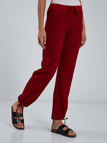 Παντελόνι με τσέπες, ελαστική μέση, εσωτερικό κορδόνι, μπορντο
