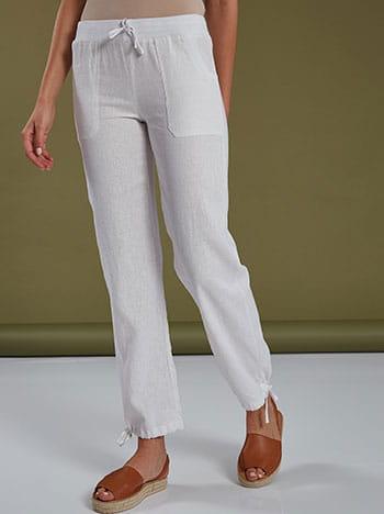 Παντελόνι με τσέπες, ελαστική μέση, εσωτερικό κορδόνι, λευκο
