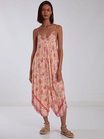 Βαμβακερό ασύμμετρο φόρεμα, v λαιμόκοψη, v πλάτη, ρυθμιζόμενες τιράντες, μιχ 4