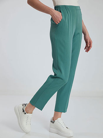 Παντελόνι με ελαστική μέση, με τσέπες, πρασινο ανοιχτο