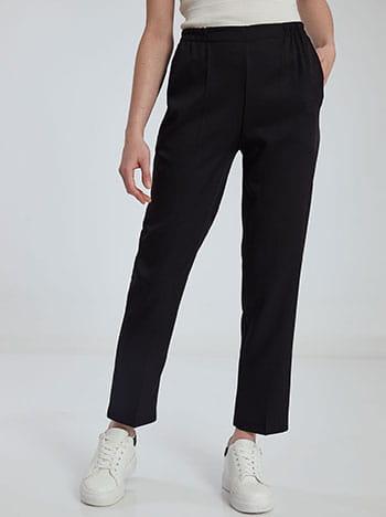Παντελόνι με ελαστική μέση, με τσέπες, μαυρο