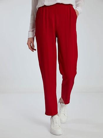 Παντελόνι με ελαστική μέση, με τσέπες, κοκκινο