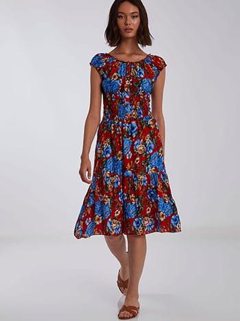 Φόρεμα με διακοσμητικά κουμπιά, χωρίς κούμπωμα, ελαστική μέση, μιχ 3