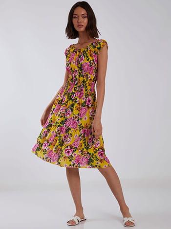 Φόρεμα με διακοσμητικά κουμπιά, χωρίς κούμπωμα, ελαστική μέση, μιχ 4