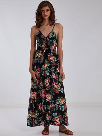 Εμπριμέ φόρεμα με σούρα, ρυθμιζόμενες τιράντες, ελαστική μέση, χωρίς κούμπωμα, μαυρο