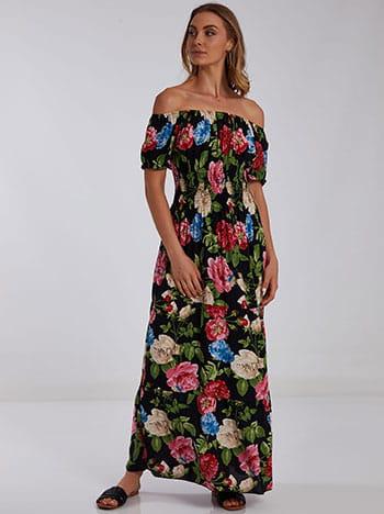 Maxi φόρεμα με σφηκοφωλιά, ακάλυπτοι ώμοι, χωρίς κούμπωμα, μιχ 1