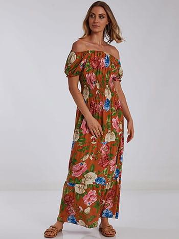 Maxi φόρεμα με σφηκοφωλιά, ακάλυπτοι ώμοι, χωρίς κούμπωμα, μιχ 3