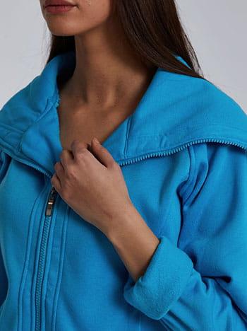 Ζακέτα με τσέπες, κλείσιμο με φερμουάρ, fleece επένδυση, γαλαζιο