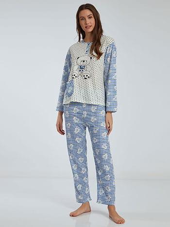 Καρό σετ πιτζάμας με αρκουδάκι, στρογγυλή λαιμόκοψη, ελαστική μέση, με τσέπη, ασπρο-μπλε