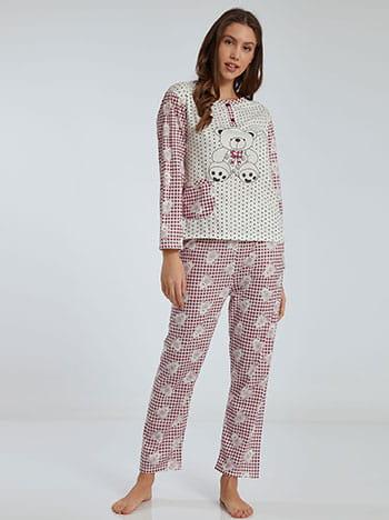 Καρό σετ πιτζάμας με αρκουδάκι, στρογγυλή λαιμόκοψη, ελαστική μέση, με τσέπη, μπορντο λευκο