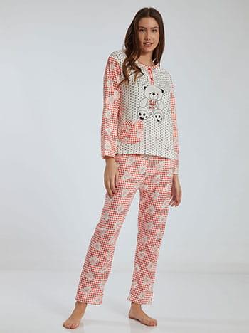 Καρό σετ πιτζάμας με αρκουδάκι, στρογγυλή λαιμόκοψη, ελαστική μέση, με τσέπη, λευκο πορτοκαλι