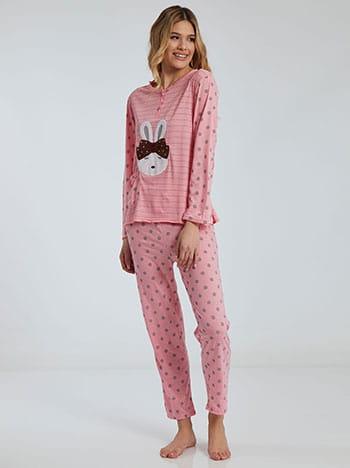 Πουά σετ πιτζάμας με λαγουδάκι, στρογγυλή λαιμόκοψη, ελαστική μέση, με τσέπη, ροζ