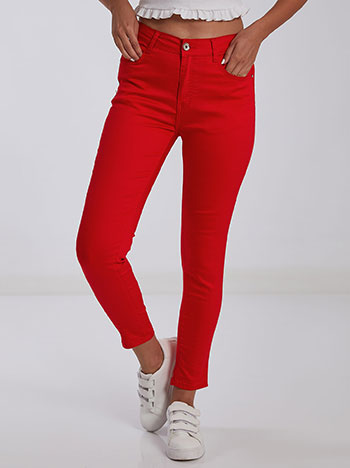 Ελαστικό παντελόνι, κλείσιμο με φερμουάρ και κουμπί, πέντε τσέπες, θηλιές στη μέση, ύφασμα με ελαστικότητα, κοκκινο