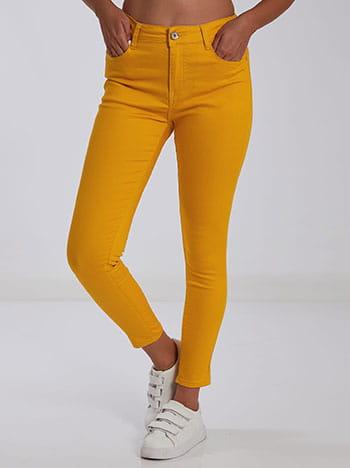 Ελαστικό παντελόνι, κλείσιμο με φερμουάρ και κουμπί, πέντε τσέπες, θηλιές στη μέση, ύφασμα με ελαστικότητα, κιτρινο σκουρο