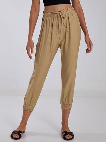 Ψηλόμεσο παντελόνι, ελαστική μέση, διακοσμητικό κορδόνι, με τσέπες, μπεζ σκουρο