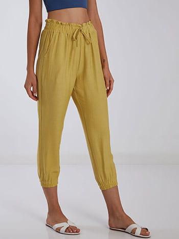 Ψηλόμεσο παντελόνι, ελαστική μέση, διακοσμητικό κορδόνι, με τσέπες, κιτρινο σκουρο