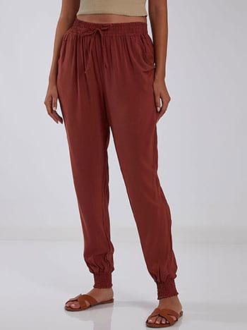 Βαμβακερό παντελόνι, ελαστική μέση, διακοσμητικό κορδόνι, με τσέπες, κεραμιδι