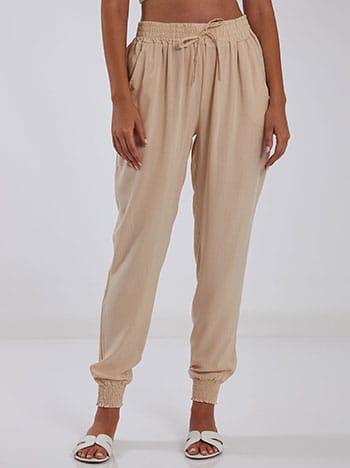 Βαμβακερό παντελόνι, ελαστική μέση, διακοσμητικό κορδόνι, με τσέπες, μπεζ ανοιχτο