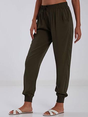 Βαμβακερό παντελόνι, ελαστική μέση, διακοσμητικό κορδόνι, με τσέπες, χακι