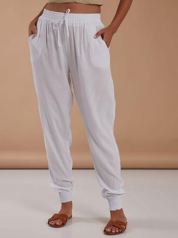 Βαμβακερό παντελόνι, ελαστική μέση, διακοσμητικό κορδόνι, με τσέπες, λευκο