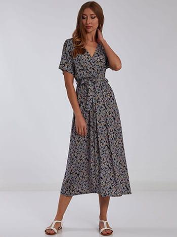 Εμπριμέ midi φόρεμα, κρουαζέ, αποσπώμενη ζώνη, χωρίς κούμπωμα, μιχ 2