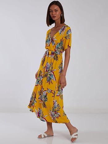 Βαμβακερό φόρεμα σε τροπικό μοτίβο, κρουαζέ, ελαστική μέση, αποσπώμενη ζώνη, κιτρινο