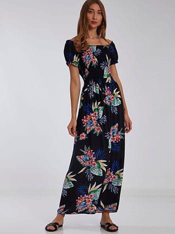Floral φόρεμα, ακάλυπτοι ώμοι, χωρίς κούμπωμα, μαυρο