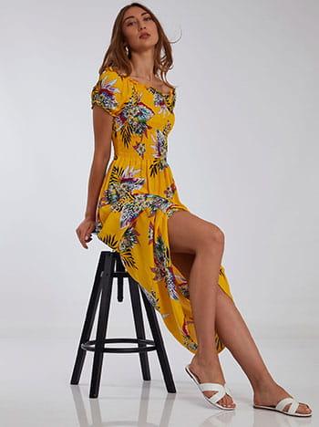 Floral φόρεμα, ακάλυπτοι ώμοι, χωρίς κούμπωμα, κιτρινο