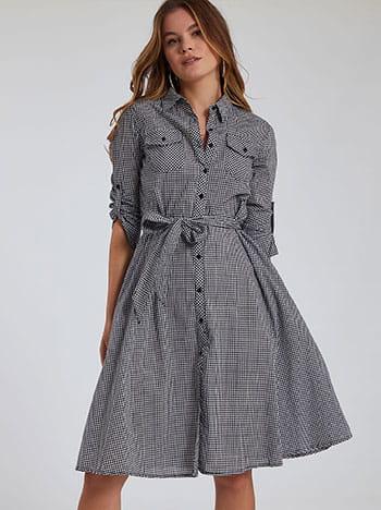 Καρό φόρεμα, αποσπώμενη ζώνη, με τσέπες, γυριστό μανίκι με κουμπί, μαυρο λευκο