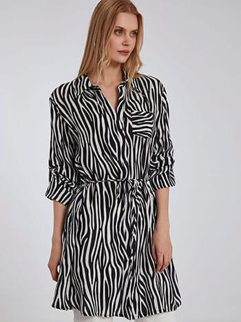Μακρύ πουκάμισο σε animal print, με τσέπη, γυριστό μανίκι με κουμπί, αποσπώμενη ζώνη, κλασικός γιακάς, μαυρο λευκο