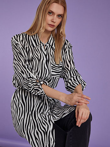 Μακρύ πουκάμισο σε animal print, με τσέπη, γυριστό μανίκι με κουμπί, αποσπώμενη ζώνη, κλασικός γιακάς, ασπρο-μαυρο