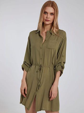 Μακρύ πουκάμισο, με τσέπη, αποσπώμενη ζώνη, γυριστό μανίκι με κουμπί, κλείσιμο με κουμπιά, xaki anoixto